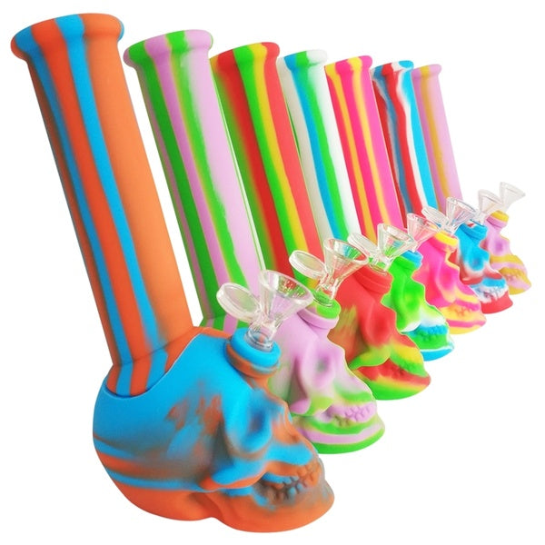 "10"" SKULL PIPE SILICONE WATER PIPE 14mm Male Bowl"