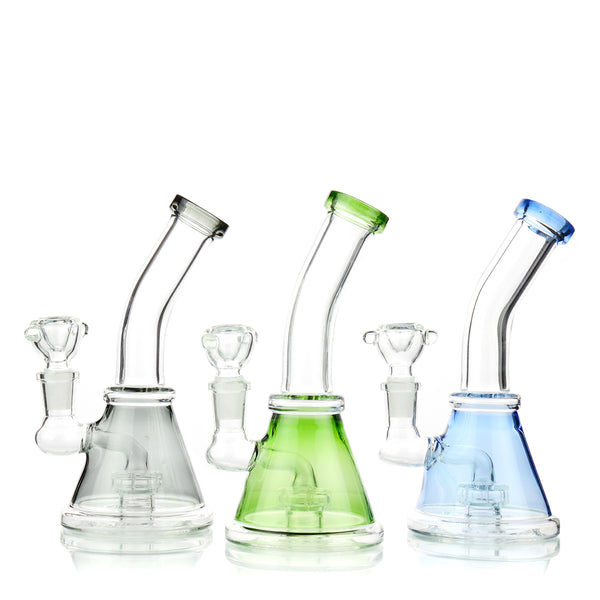 "7"" Conical Color Tube Bong 14mm Male Bowl Included Approx 190 Grams"