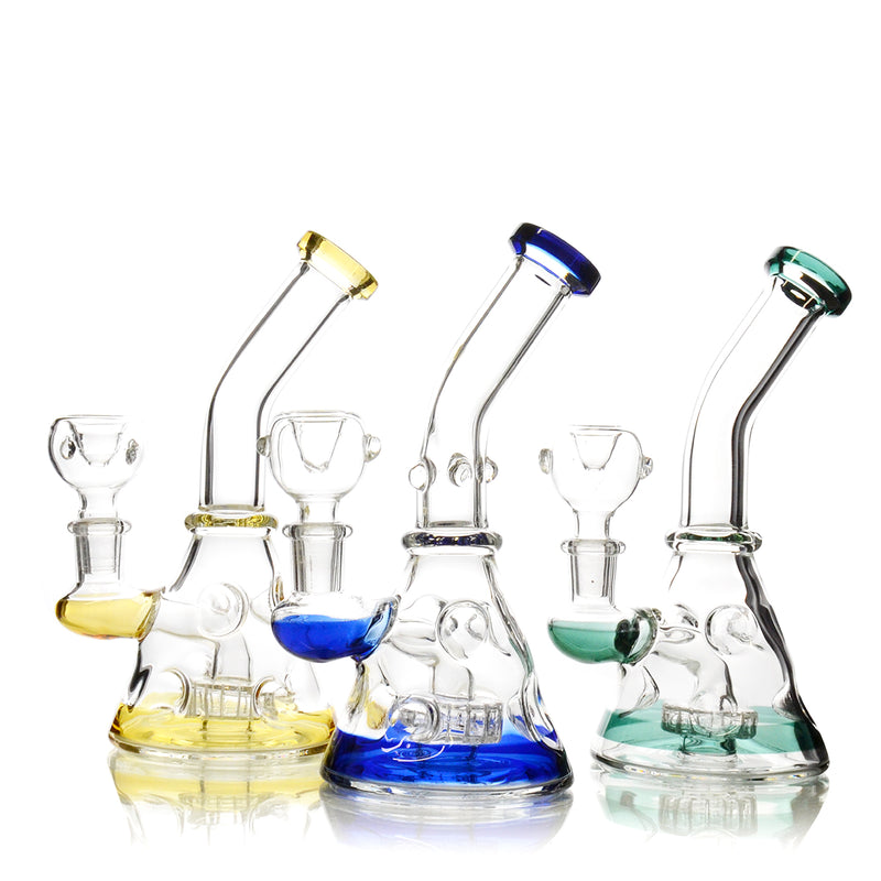 "7"" Bong ice punch Metrix Shower with Color Stripe 14mm Male Bowl Included Approx 185 Grams"