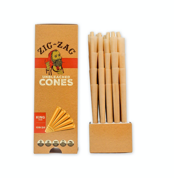ZIG ZAG King Sized Mini Bulk Unbleached Cones 100 Cone Pack