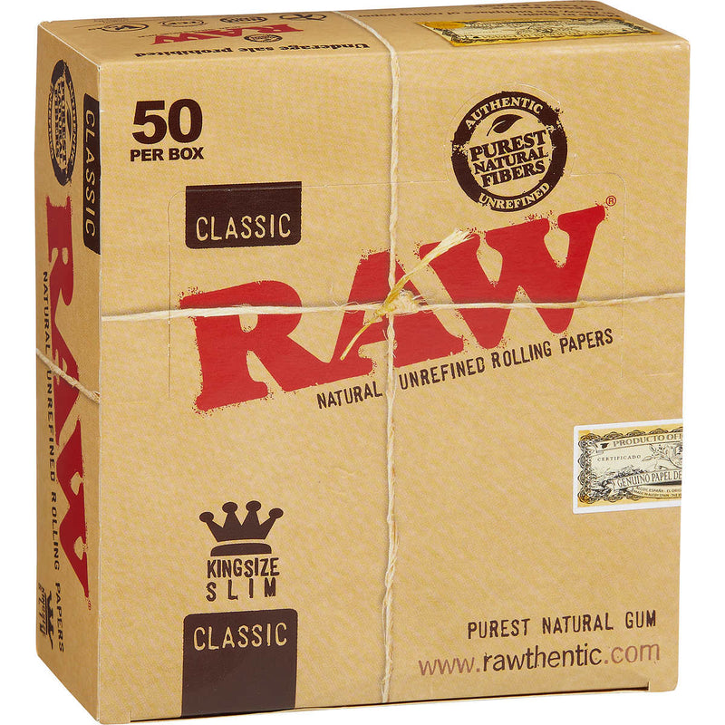 Raw Classic King Slim Rolling Paper 50 PER BOX