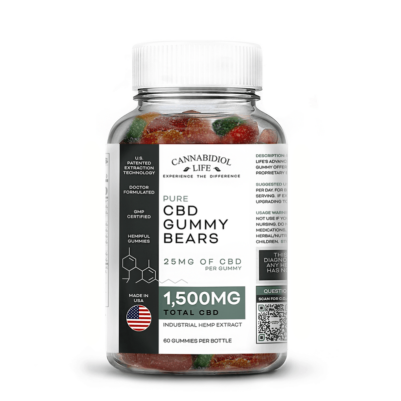 CBD GUMMY BEARS 60CT PER BOTTLE 25mg Per Bear