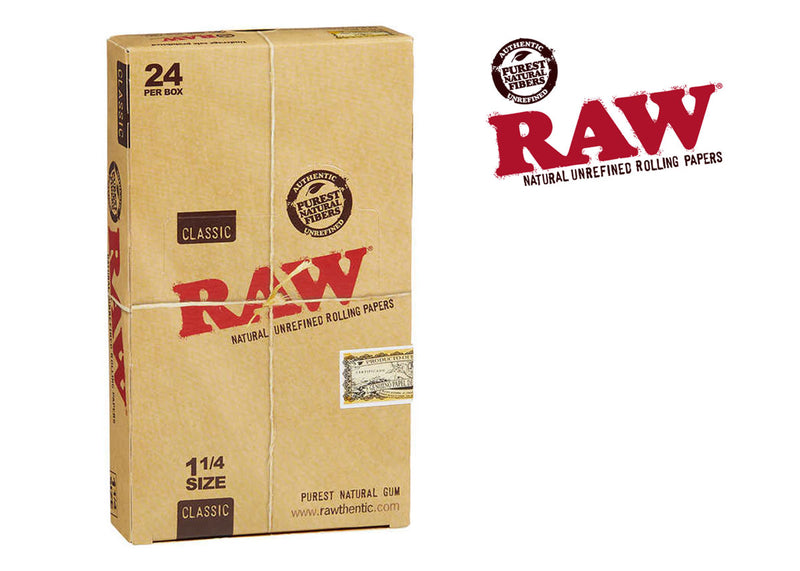 "Raw Classic 1 1/4"" Size Rolling Paper 24 packs"