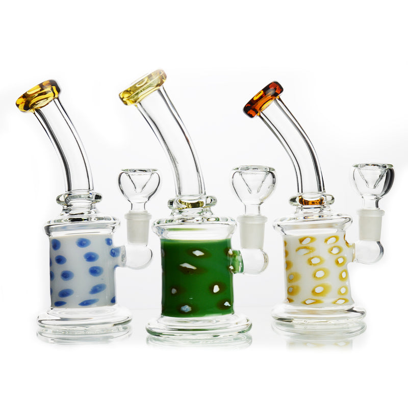 "7"" Bong Heavy Color Glass with Bent Neck Color Mouth 14mm Male Bowl Included Approx 250 Grams"