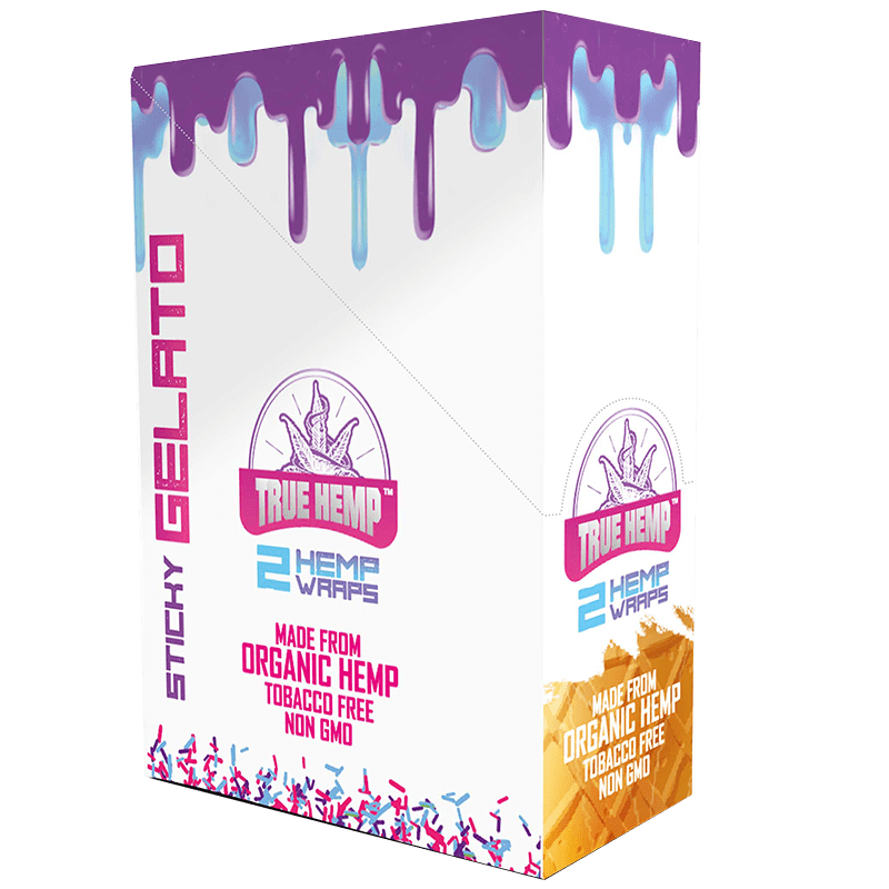 True Hemp Gelato Wrap 2 wraps per pack. 25 packs per box.