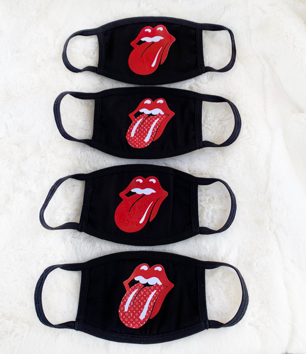 4 PACK - Rolling Stones x LV Lips Tongue Reversible Unisex Face Mask