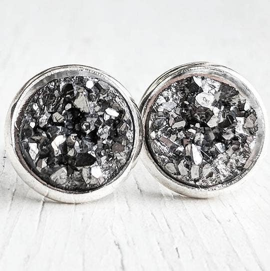 Gunmetal On Silver - Druzy Stud Earrings - Hypoallergenic Posts