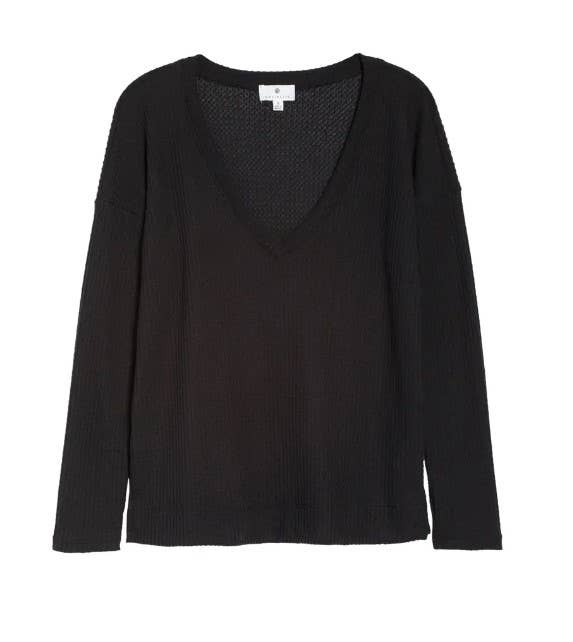 Blakely Cozy Long Sleeve V-Neck Top - Black