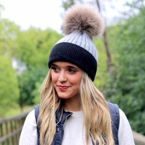 Layla  Angora Fur Pom Beanie - Gray with Black