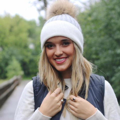 Layla Angora Fur Pom Beanie - Grey with White