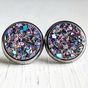 Ultra Violet On Gunmetal- Druzy Stud Earrings - Hypoallergenic Posts