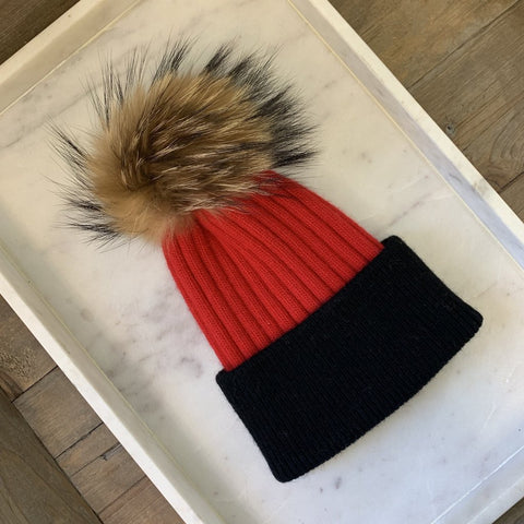 Layla Angora Fur Pom Beanie - Red with Black