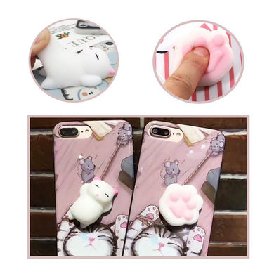 Bakeey?? Cartoon 3D Squishy Squeeze Slow Rising Soft Lazy Cat Claws PC Case for iPhone 7/8 7Plus/8Plu - Buzztech Electronics and Gadgets