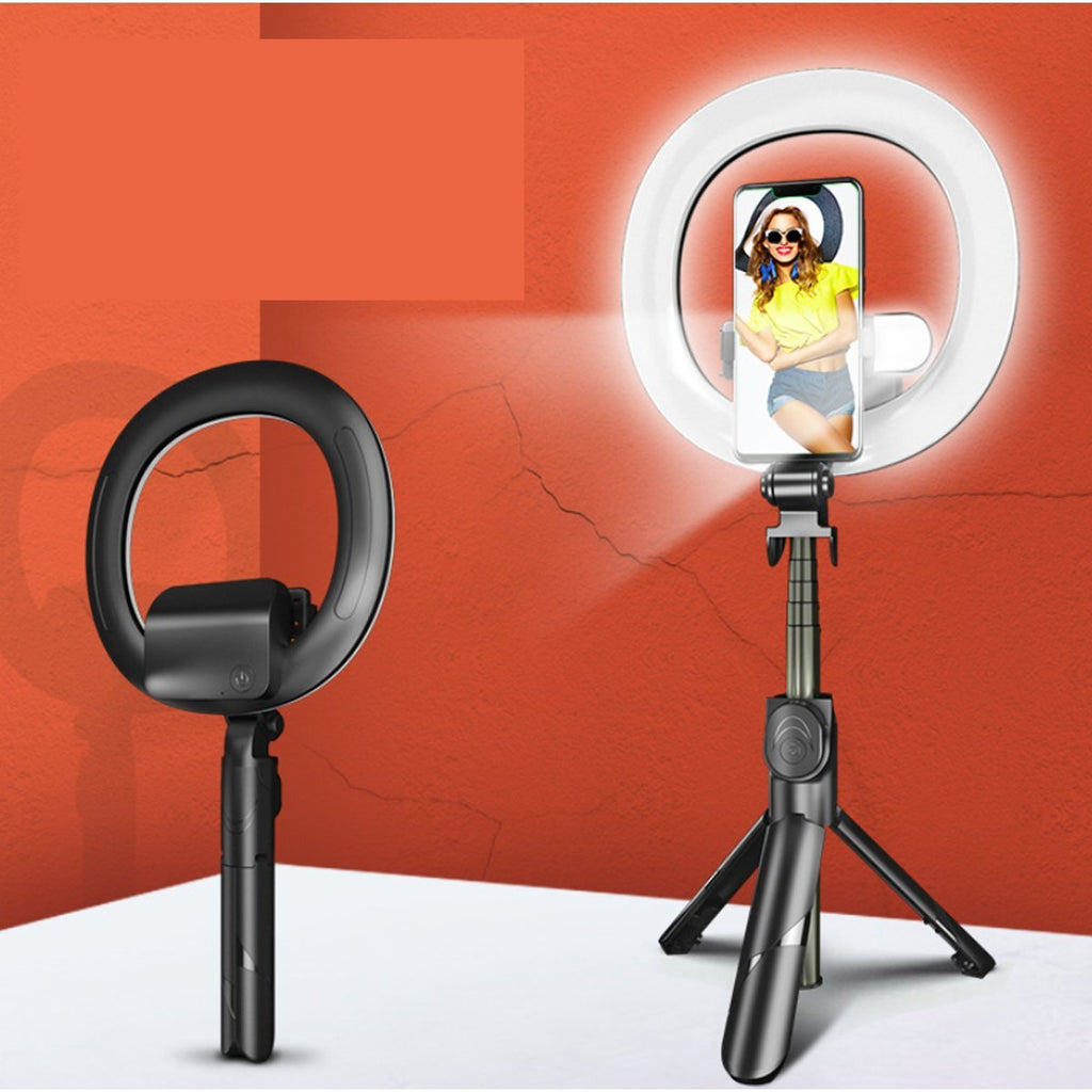 Self Video Portrait Soft Halo Light Stand With Dual LED Light And Bluetooth Remote