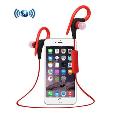 Bluetooth Headphone with Secure Ear Hook and Remote - Color: Red