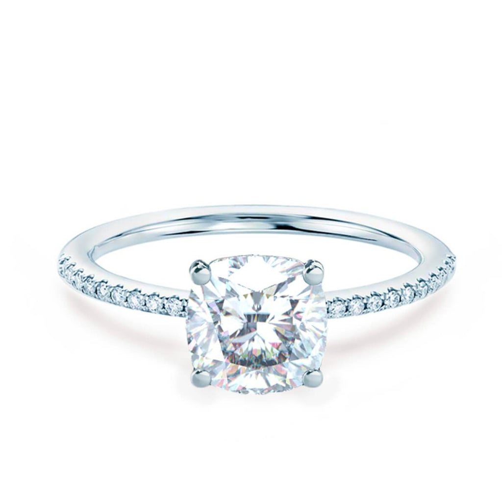 Moissanite365 Engagement Ring Cushion Cut 4 Claw Moissanite Shoulder Set Engagement Ring