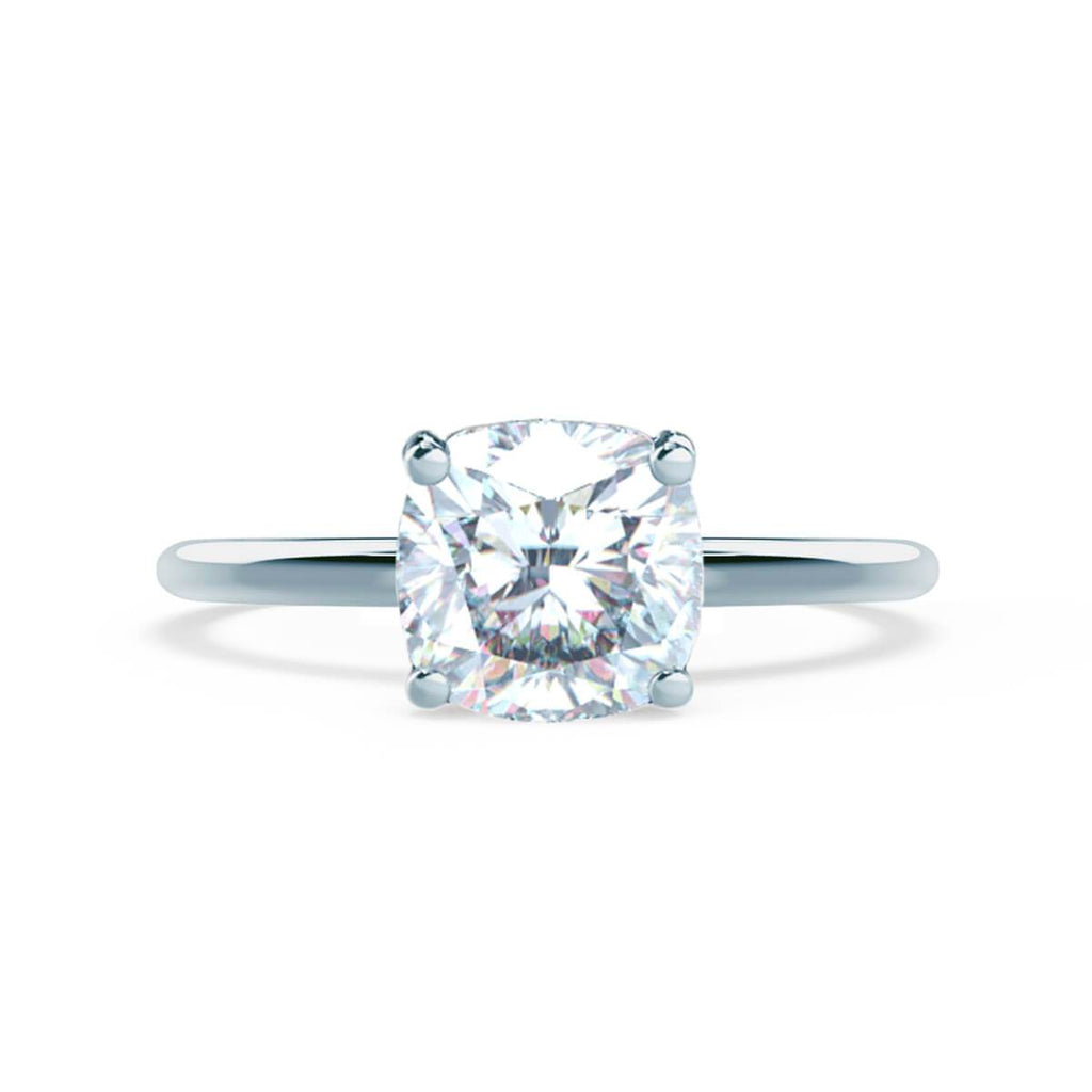 Moissanite365 Engagement Ring Cushion Cut 4 Claw Moissanite Solitaire Engagement Ring