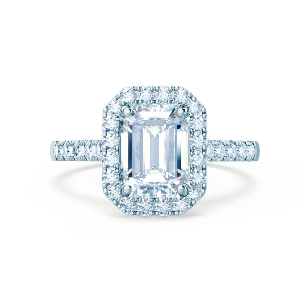 Moissanite365 Engagement Ring Emerald Cut 4 Claw Moissanite Pavé Halo Engagement Ring
