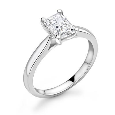 Moissanite365 Engagement Ring Emerald Cut 4 Claw Moissanite Solitaire Engagement Ring