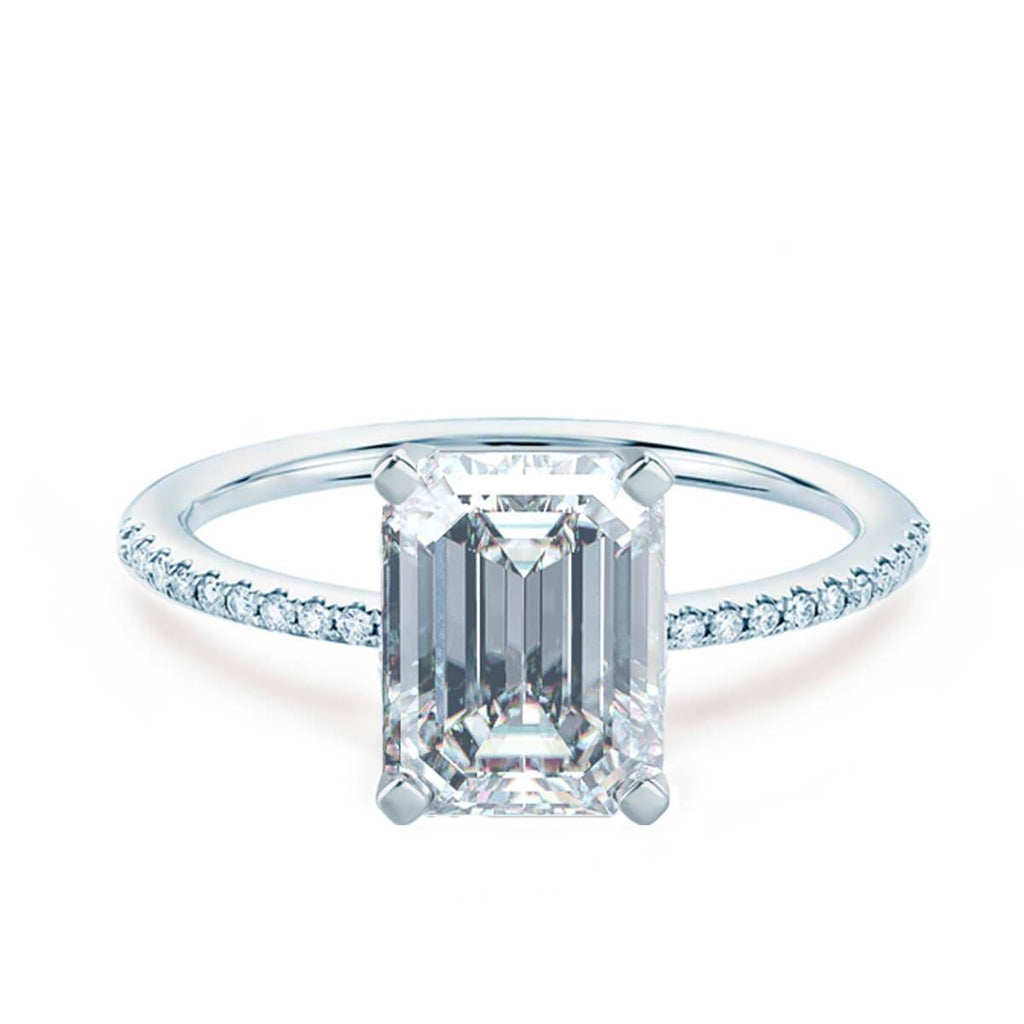 Moissanite365 Engagement Ring Emerald Cut Shoulder Set Engagement Ring