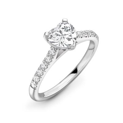 Moissanite365 Engagement Ring Heart Cut 3 Claw Moissanite Pavé Shoulder Set Engagement Ring