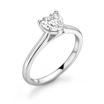 Moissanite365 Engagement Ring Heart Cut 3 Claw Moissanite Solitaire Engagement Ring