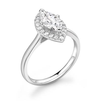 Moissanite365 Engagement Ring Marquise Cut 4 Claw Moissanite Halo Engagement Ring