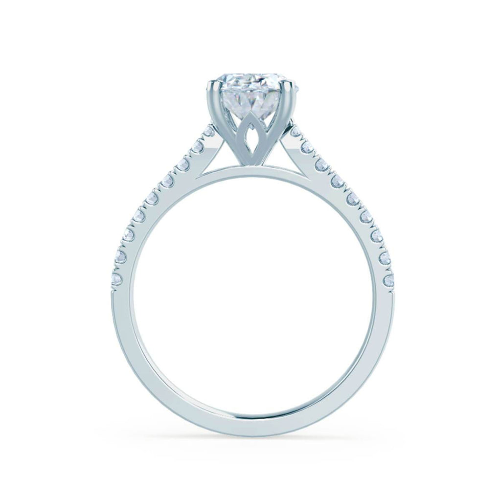 Moissanite365 Engagement Ring Oval Cut 4 Claw Moissanite Shoulder Set Engagement Ring