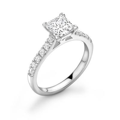 Moissanite365 Engagement Ring Princess Cut 4 Claw Moissanite Classic Pavé Shoulder Set Engagement Ring