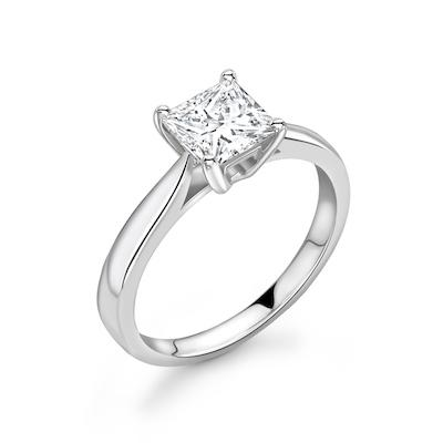 Moissanite365 Engagement Ring Princess Cut 4 Claw Moissanite Classic Solitaire Engagement Ring