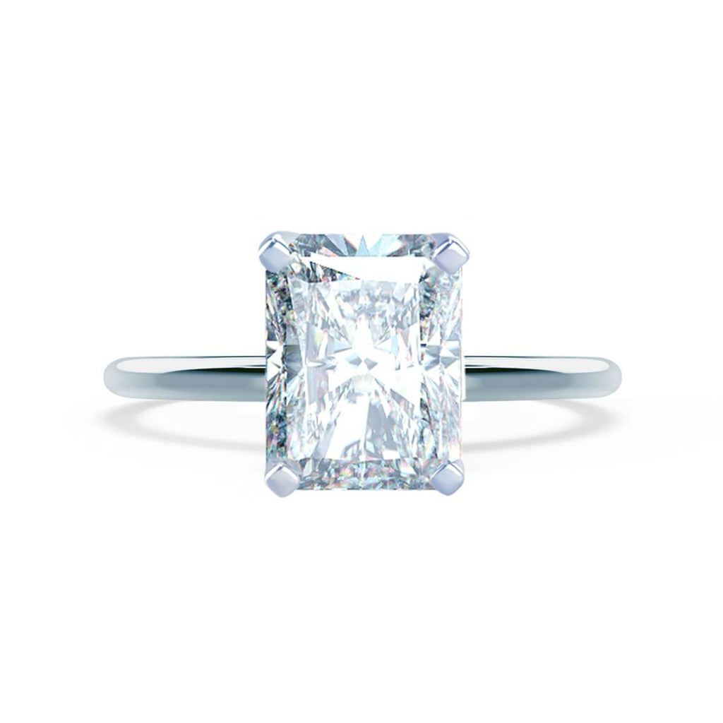 Moissanite365 Engagement Ring Radiant Cut 4 Claw Moissanite Solitaire Engagement Ring