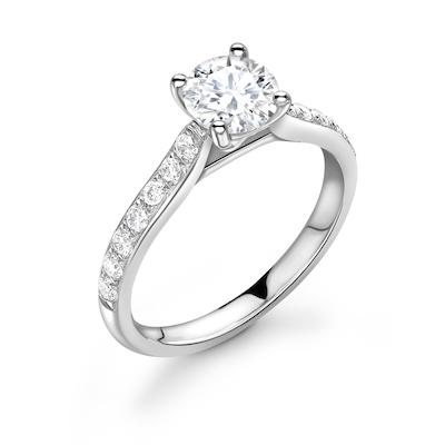 Moissanite365 Engagement Ring Round Cut 4 Claw Moissanite Channel Shoulder Set Engagement Ring