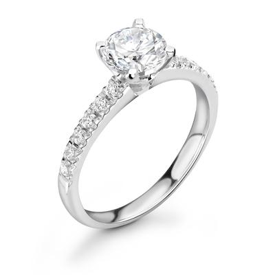 Moissanite365 Engagement Ring Round Cut 4 Claw Moissanite Classic Pavé Shoulder Set Engagement Ring