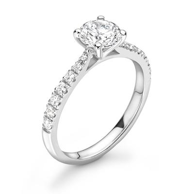 Moissanite365 Engagement Ring Round Cut 4 Claw Moissanite Delicate Pavé Shoulder Set Engagement Ring