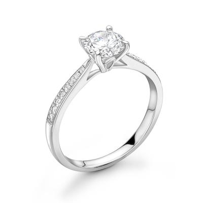 Moissanite365 Engagement Ring Round Cut 4 Claw Moissanite Elegant Channel Shoulder Set Engagement Ring