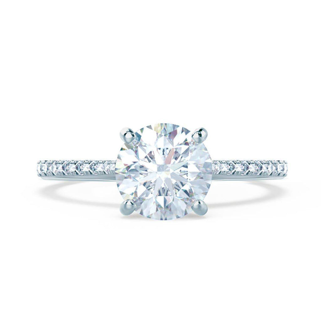Moissanite365 Engagement Ring Round Cut 4 Claw Moissanite Micro Pavé Shoulder Set Engagement Ring