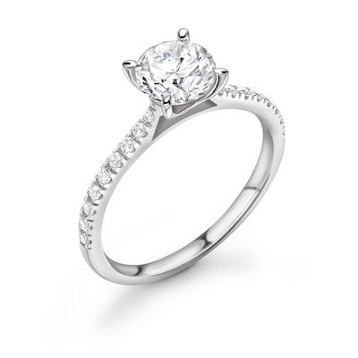 Moissanite365 Engagement Ring Round Cut 4 Claw Moissanite Shoulder Set Engagement Ring