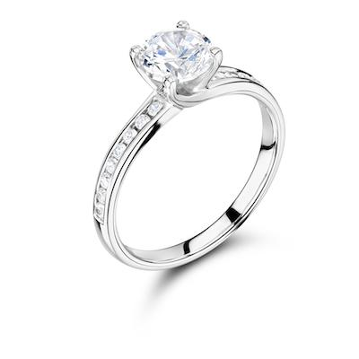 Moissanite365 Engagement Ring Round Cut 4 Claw Moissanite Twist Channel Shoulder Set Engagement Ring