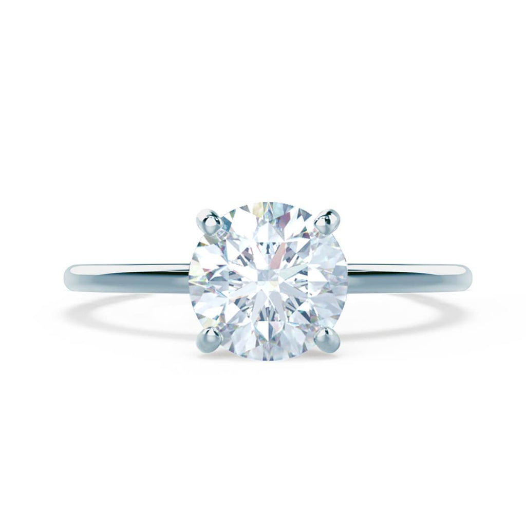 Moissanite365 Engagement Ring Round Cut 4 Claw Petite Moissanite Solitaire Engagement Ring