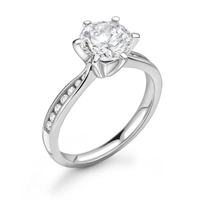 Moissanite365 Engagement Ring Round Cut 6 Claw Moissanite Deep Channel Shoulder Set Engagement Ring