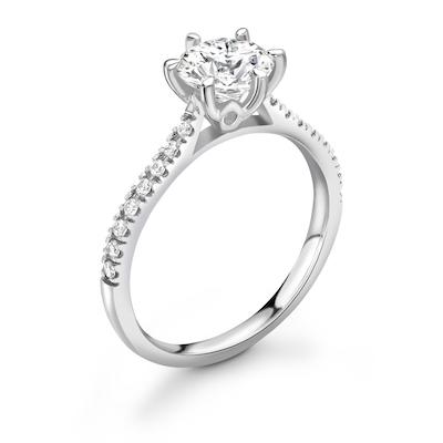 Moissanite365 Engagement Ring Round Cut 6 Claw Moissanite Pavé Shoulder Set Engagement Ring