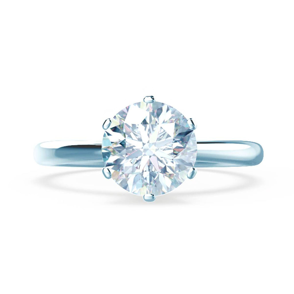 Moissanite365 Engagement Ring Round Cut 6 Claw Moissanite Tapered Solitaire Engagement Ring