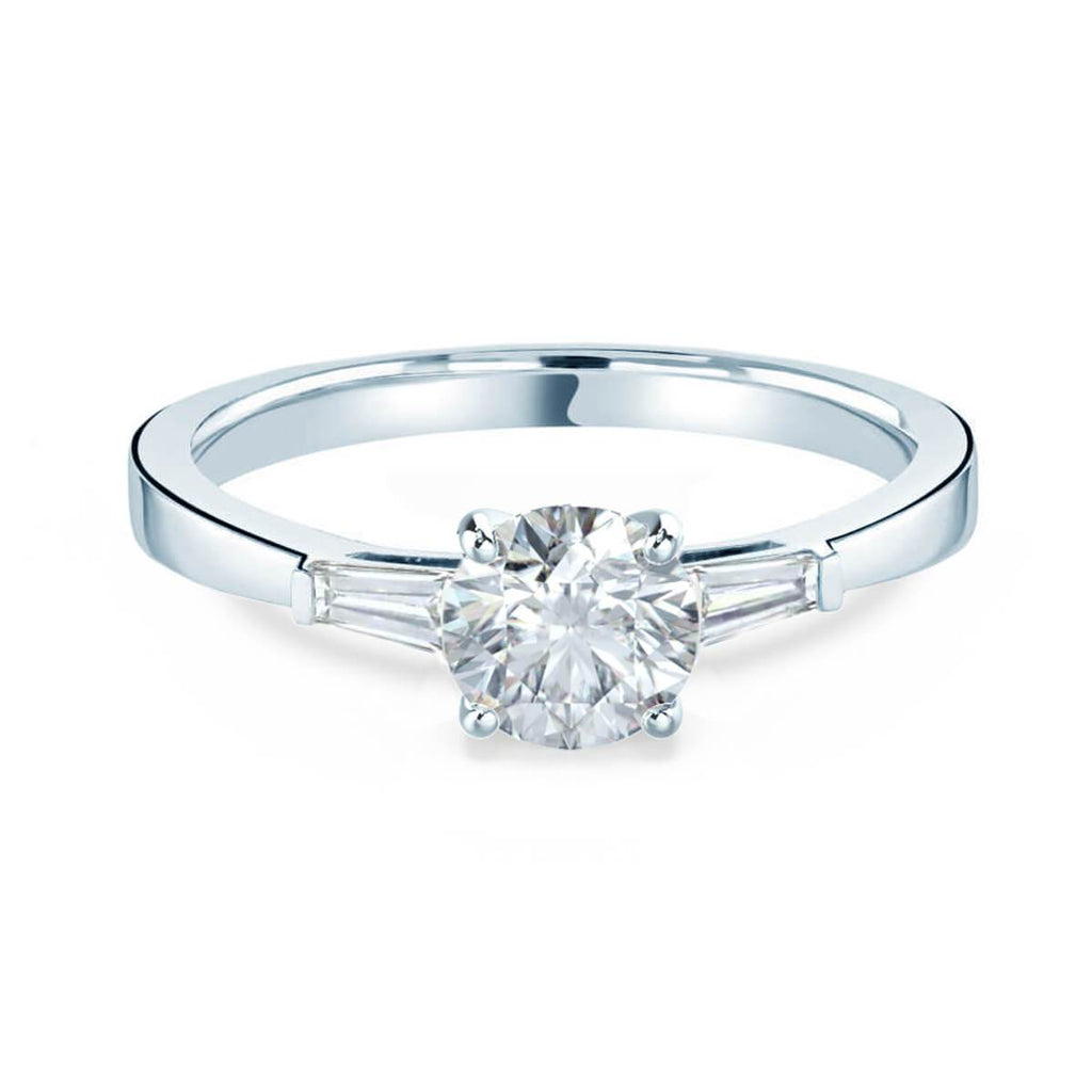 Moissanite365 Engagement Ring Round Cut Moissanite & Baguette Diamond Trilogy Ring