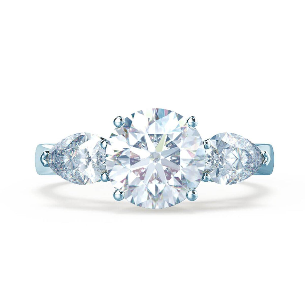 Moissanite365 Engagement Ring Round Cut Moissanite & Pear Diamond Trilogy Ring