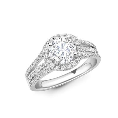Moissanite365 Engagement Ring Round Cut Moissanite Triple Split Shank Pavé Engagement Ring