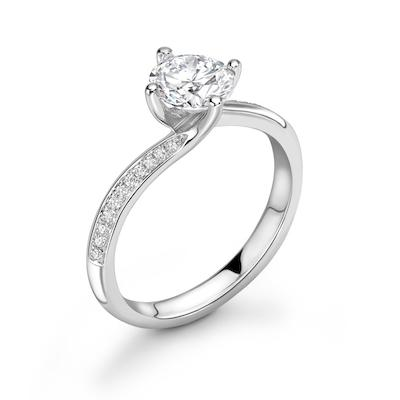 Moissanite365 Engagement Ring Round Cut Twisted 4 Claw Moissanite Shoulder Set Engagement Ring