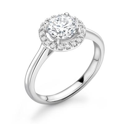 Moissanite365 Engagement Ring Round Halo Moissanite Engagement Ring