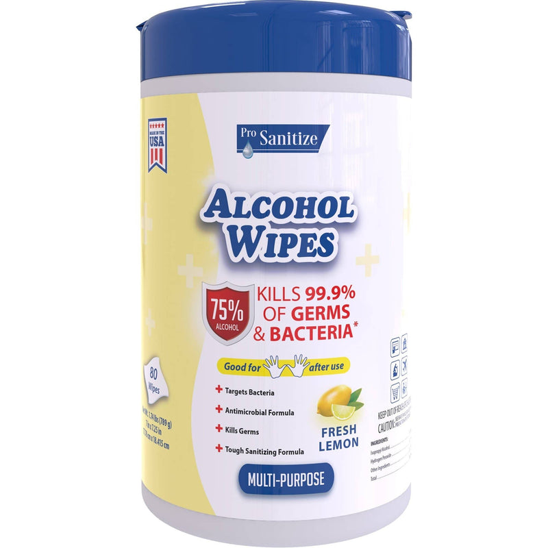 Pro Sanitize Multi-Purpose Isopropyl Alcohol Wipes, Kills 99.9% of Germs, 80 Wipes/Pack, 12 Packs/Case