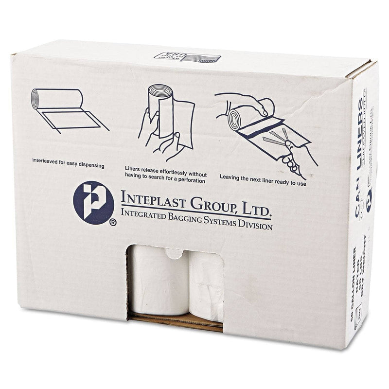 "Interplast High-Density Commercial Can Liners Value Pack, 60 Gal, 12 Microns, 38"" X 58"", Clear, 200/Carton - IBSVALH3860N14 - TotalRestroom.com"