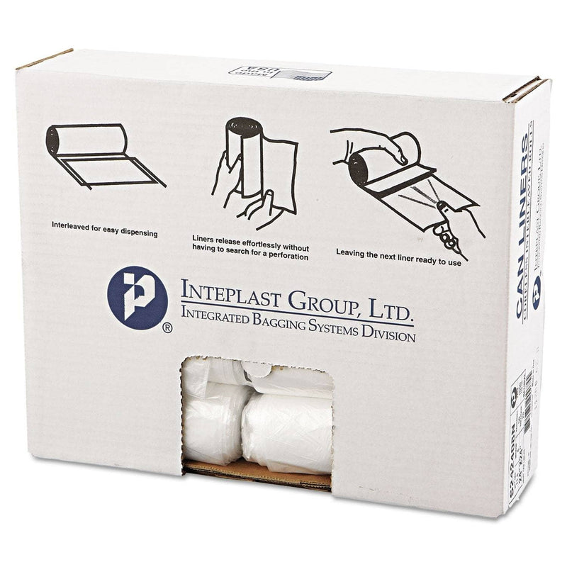 "Interplast High-Density Commercial Can Liners, 10 Gal, 8 Microns, 24"" X 24"", Natural, 1,000/Carton - IBSS242408N - TotalRestroom.com"